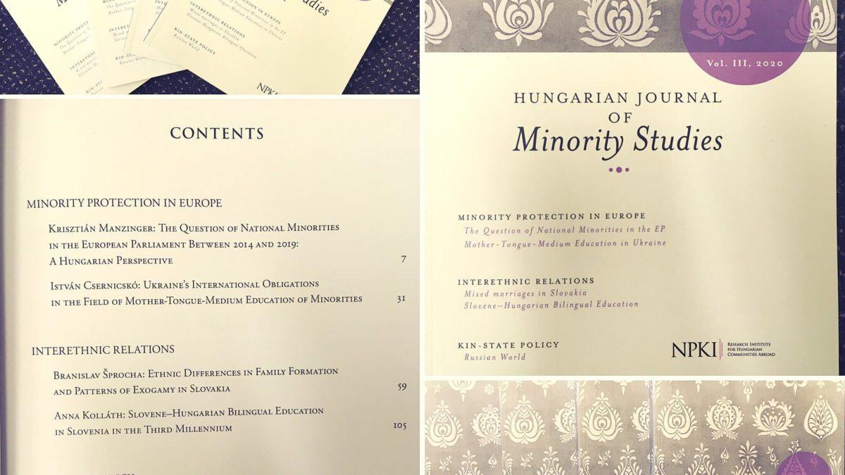 Hungarian Journal of Minority Studies Vol. III, 2020
